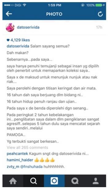 """Jawapan Datuk Seri Vida apabila dituduh riak dalam """"Terlajak puteh, Nampak"""""""