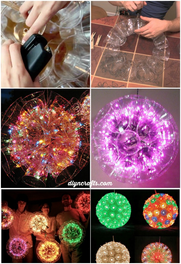 How to make a sparkle ball using plastic cups diy craft for Led lights for craft projects