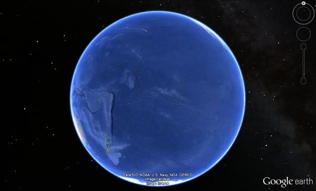 Ground Zero bei Französisch-Polynesien (Bildausschnitt aus Google Earth)