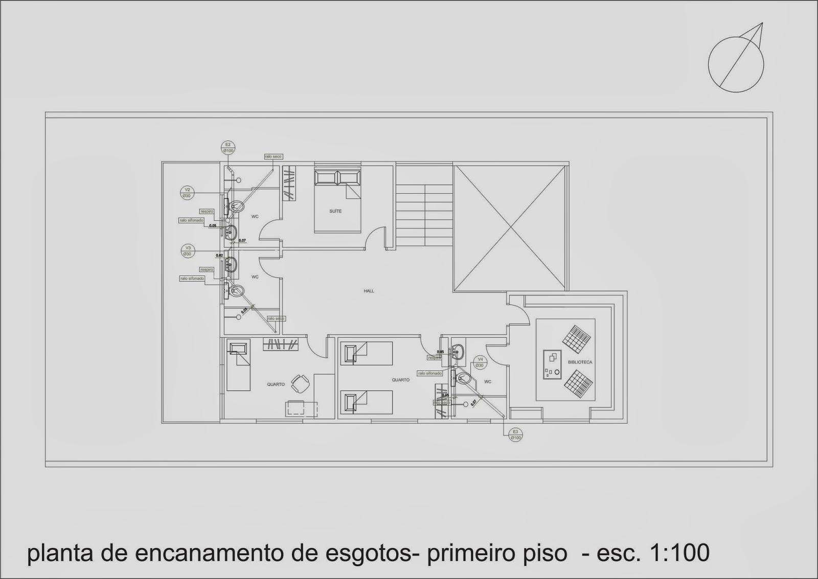 Pellegrino : Projeto de instalações hidráulicas para residência #696A61 1600 1133