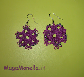 orecchini a chiacchierino - tatting earrings - flower