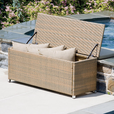 The Outdoor Wicker Entryway Storage Bench