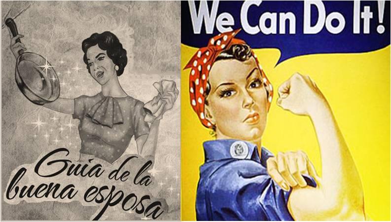 Figura 1. Estereotipos publicitarios. Guía de la buena esposa de 1953 y Rosie the Riveter de 1942.