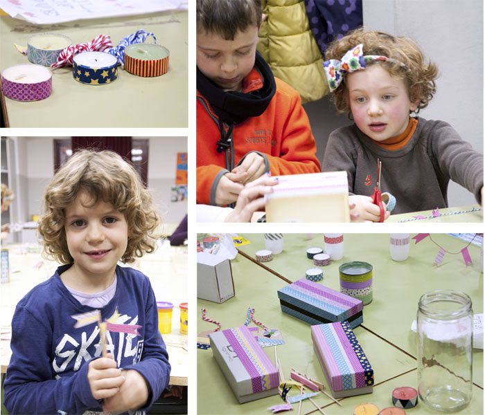 taller de washi tape para niños en el colegio Lourdes