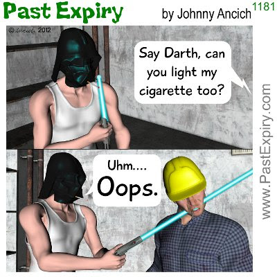Cartoon about cigarettes, DarthVader, men, spoof,