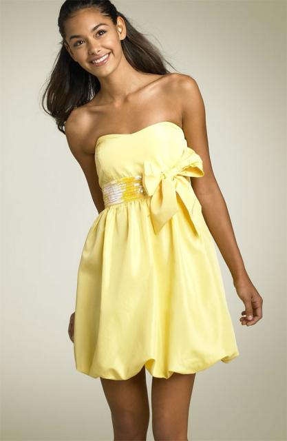 strapless short yellow junior prom dress