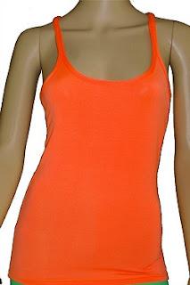neon 80s orange vest top