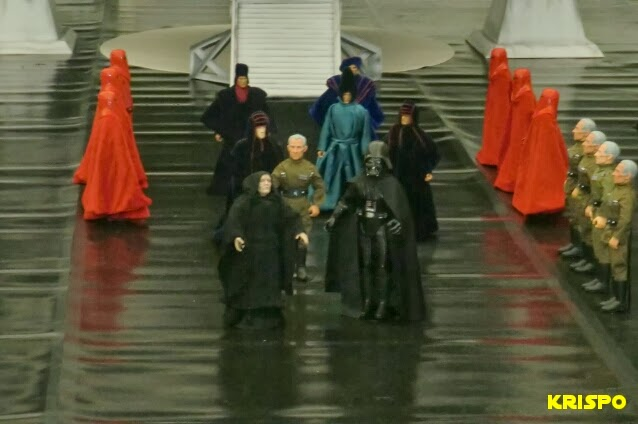 emperador palpatine y séquito llegan estrella muerte diorama
