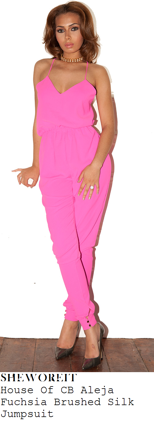 chloe-sims-bright-fuchsia-pink-sleeveless-v-neck-cami-strap-tapered-jumpsuit-ibiza