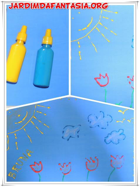 Artes Visuais Desenhando com Cola Colorida