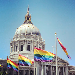 Civic Centre with rainbow flags
