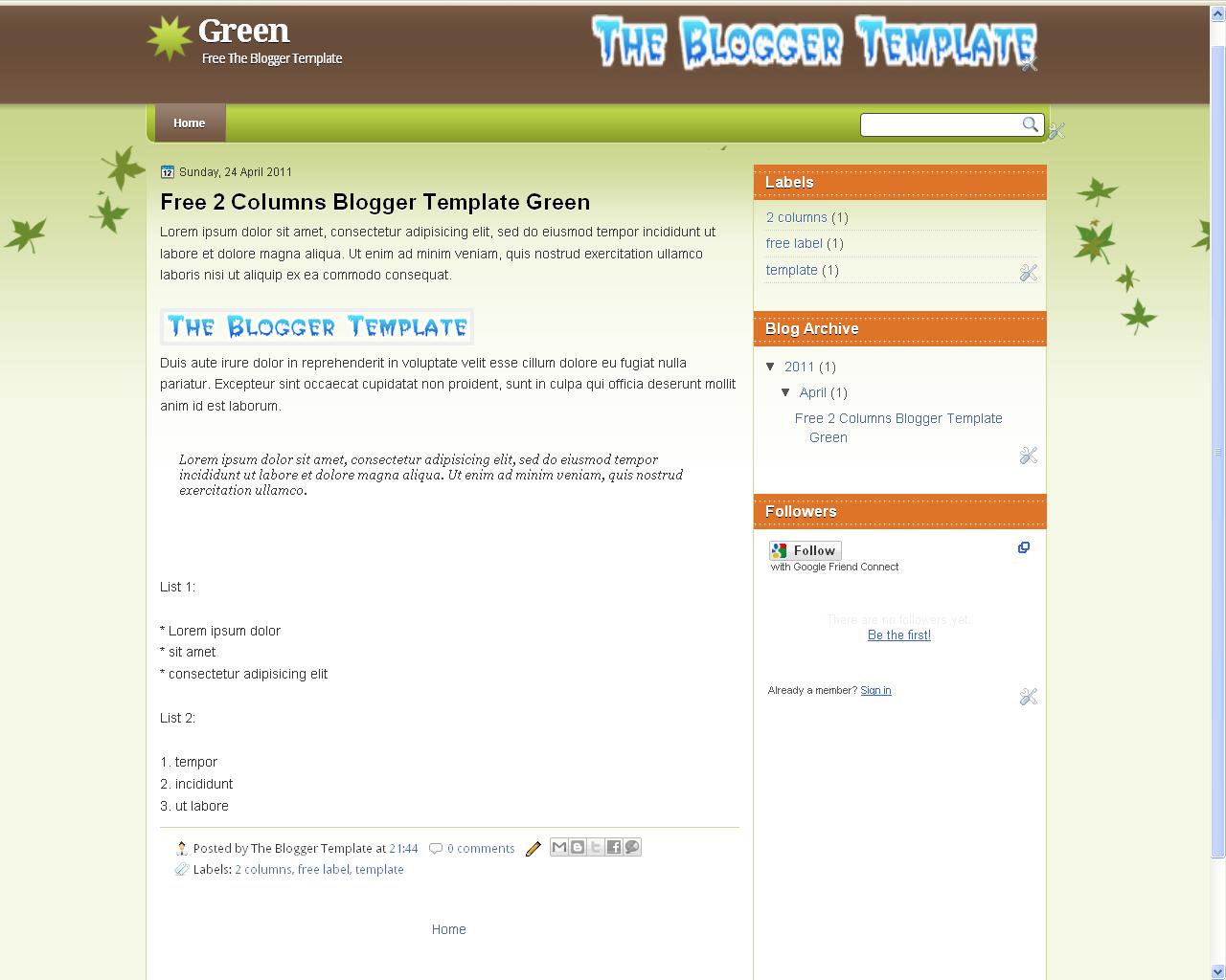 2 Column Bloger Templates The Blogger Template