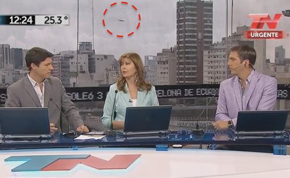 Grey Disc UFO Captured On Live TV 2015, UFO Sighting News
