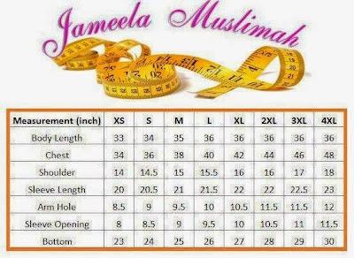 Ukuran-Saiz-T-shirt-Muslimah-Jameela