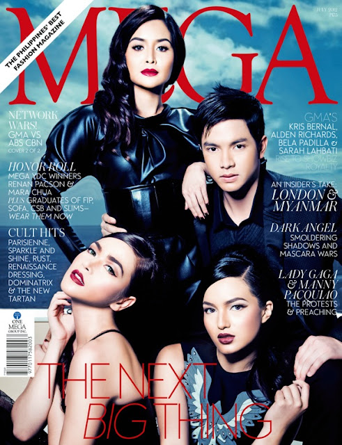 Kapuso primetime royalty Kris Bernal, Alden richards, Bela Padilla and Sarah Lahbati Covers MEGA July 2012 Issue