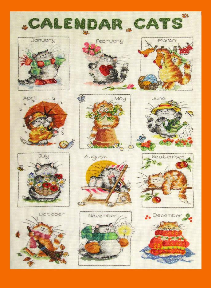 Календарь кота вышивка