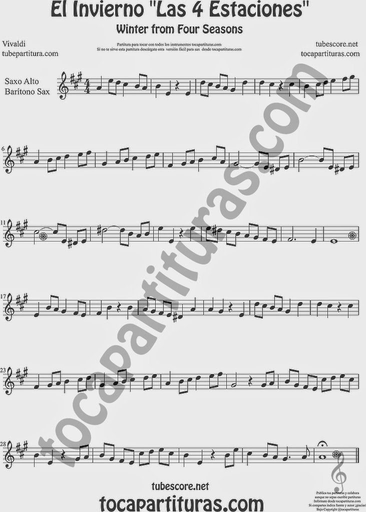 El Invierno de Vivaldi Partitura Fácil  de Saxofón Alto y Sax Barítono Las 4 Estaciones Sheet Music for Alto and Baritone Saxophone Music Scores Easy Winter From the Four Seasons Trompa o corno en mi bemol