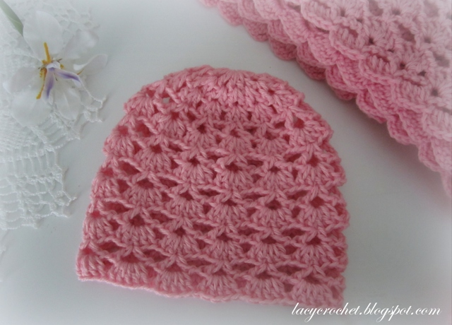 Crochet Baby Hat Patterns 6 Months : Lacy Crochet: Lacy Shells Baby Hat Size 3-6 Months