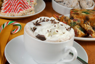 Cup Hot Chocolate with cake and cookies