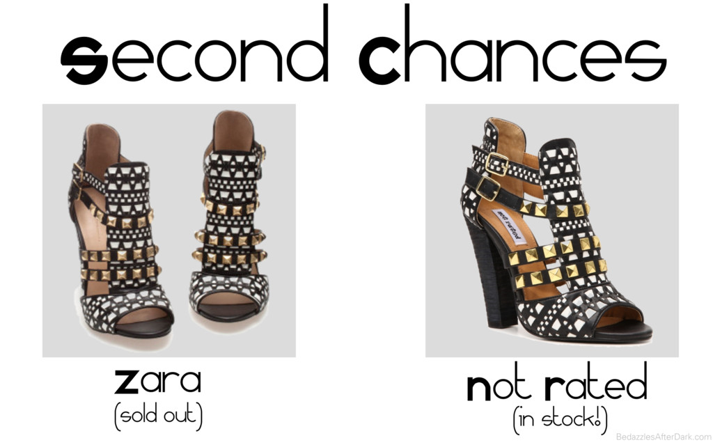Zara Look-Alike Studded Sandal - Black & White Printed Cutout Sandals