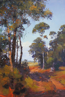Landscape oil painting, step 2 mid tones & local colour, by andy dolphin