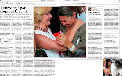 En mi opinión, Esperanza Aguirre se va por disconformidad con la política que está haciendo el PP pero, si hay oportunidad, volverá por la puerta grande