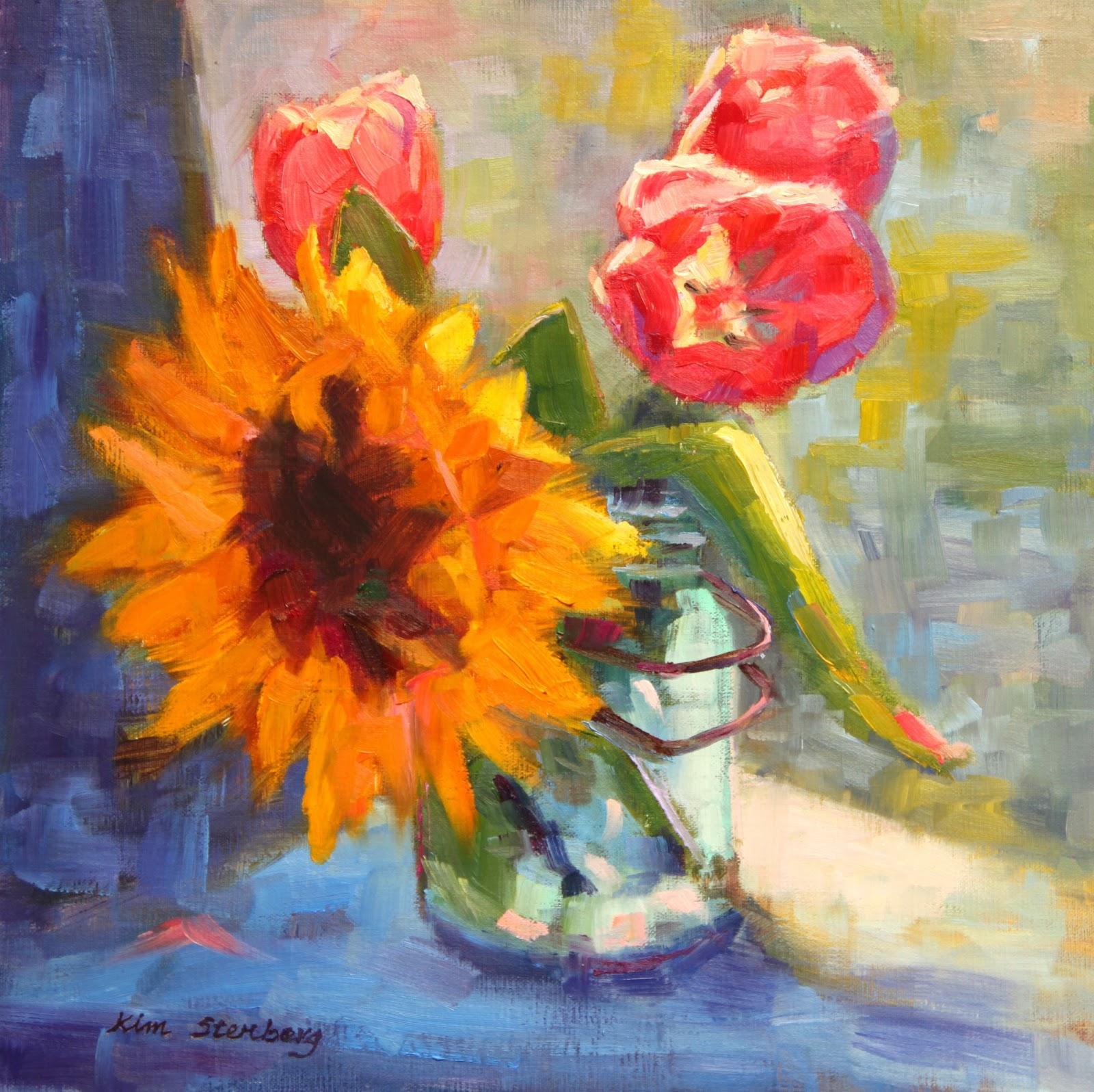 "Kim Stenberg's Painting Journal: ""Sunflower And Tulips"