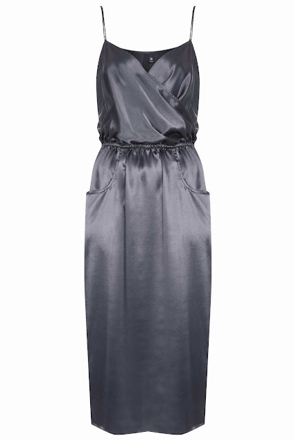 grey satin dress