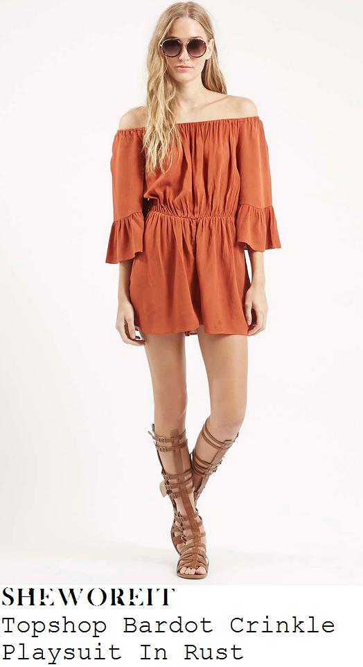 karrueche-tran-orange-off-shoulder-crinkle-playsuit
