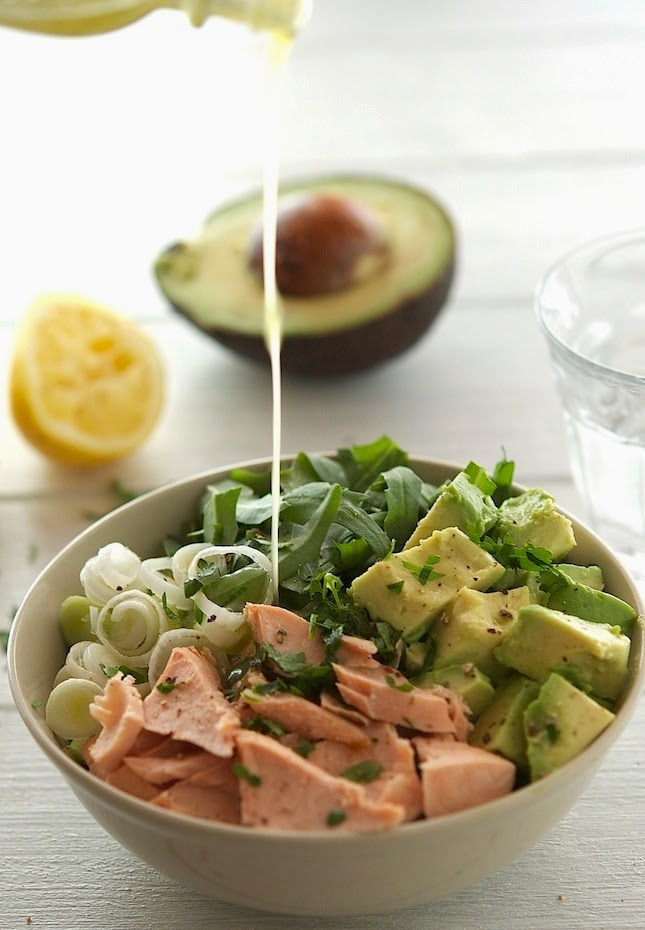 Salmon, Avocado, and Arugula Salad with Lemon-Parsley Dressing