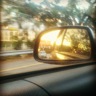 Sunset in the rearview mirror..