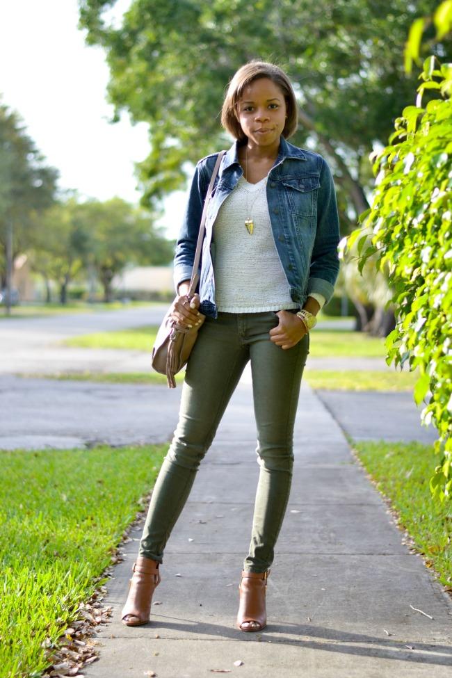Cognac booties + Denim Jacket + Olive Skinny Jeans