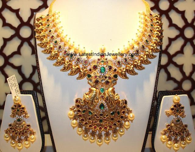 Huge Gold Necklace Earrings Set