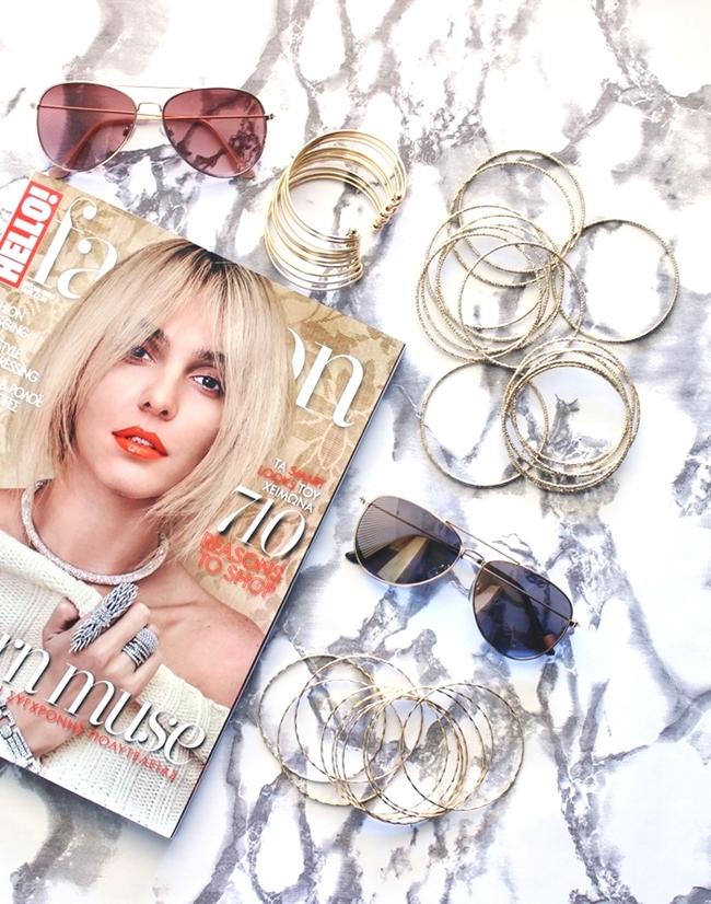 H&M gold accessories.H&M gold bracelets bangles and gold sunglasses.H&M zlatne narukvice i zlatne naocare za sunce.