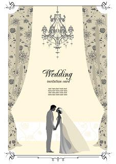 新郎新婦と結婚式の招待状 Wedding invitations with bride and groom イラスト素材4