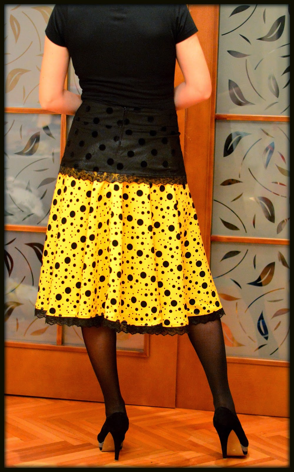 Yellow and black polka dots circle skirt with lace hem two layer skirt