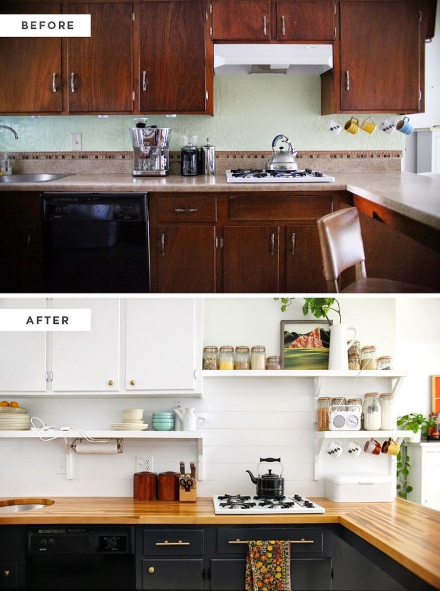 wystrój wnętrz, wnętrza, urządzanie mieszkania, dom, home decor, dekoracje, aranżacje, styl skandynawski, blask, white, biel, czerń, biała kuchnia, remont, przemiana, malowanie szafek, before, after