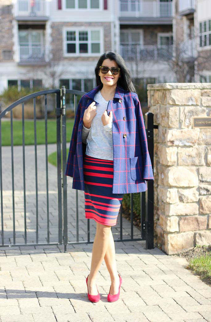Plaid Pea Coat, Old Navy Plaid Pea Coat, Blue Plaid Coat, Striped Pencil Skirt, Bobi LA Tee