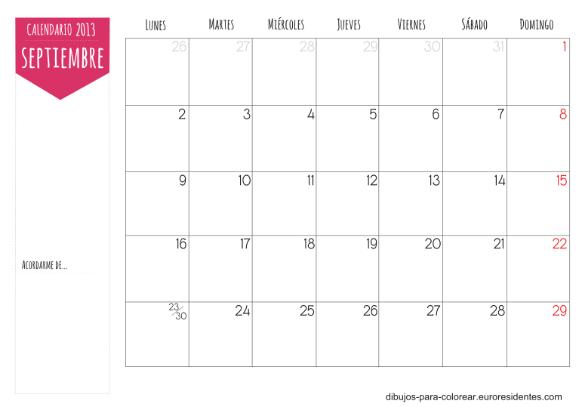 Descargar calendario mes de septiembre 2013Calendario Septiembre 2013