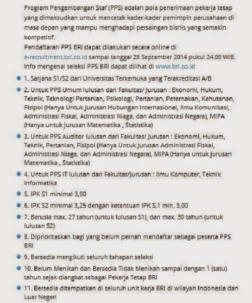 lowongan kerja bank bri bandung oktober 2014