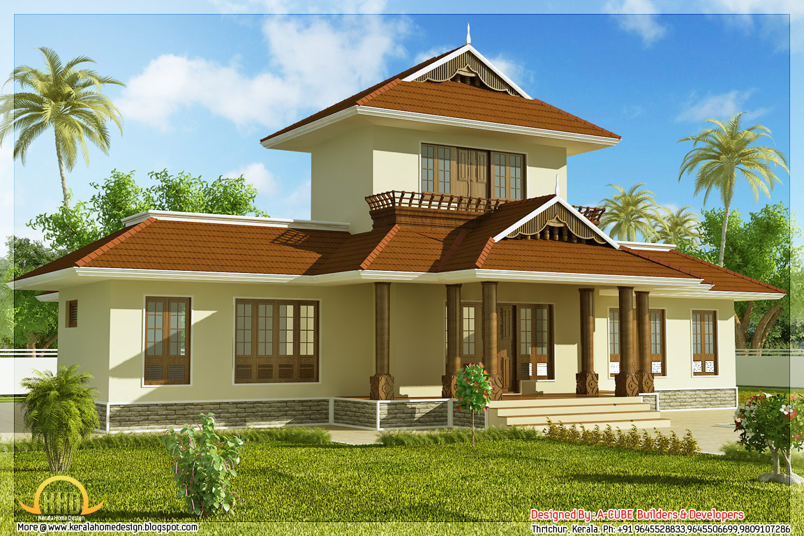 ... square feet 3 bedroom Kerala style home right side view - May 2012