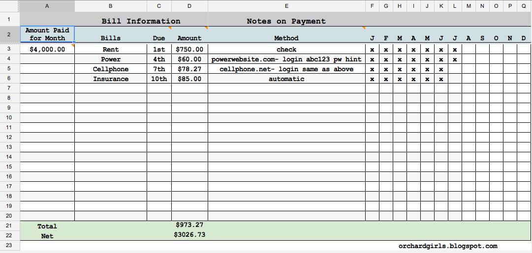 Free Printable Monthly Bill Spreadsheet on payment tracking worksheet