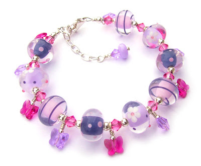 Lampwork glass and sterling silver bracelet