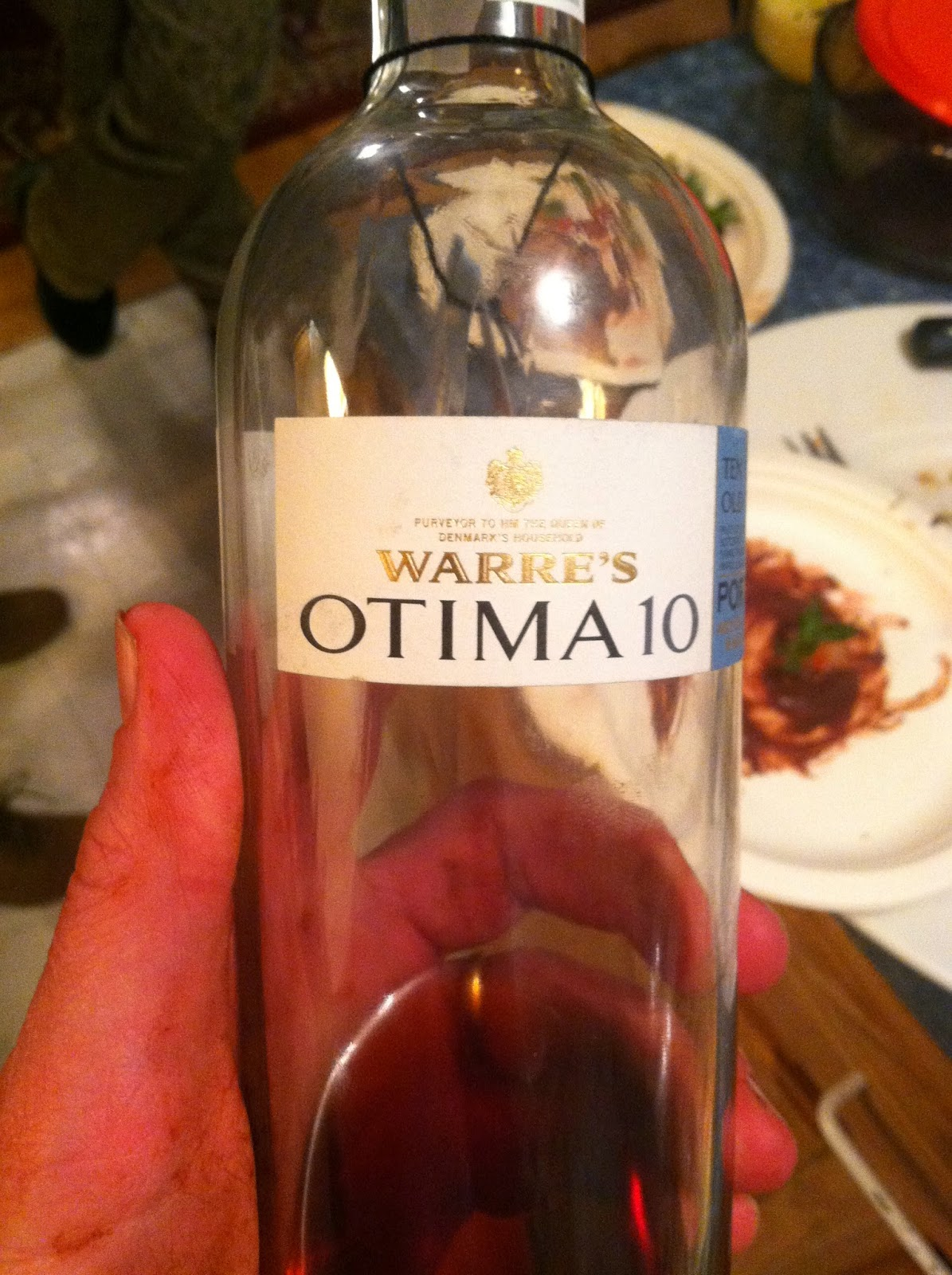 Warre's Otima 10 year old tawny, served with Cooking Chat's Chocolate Covered Strawberries.