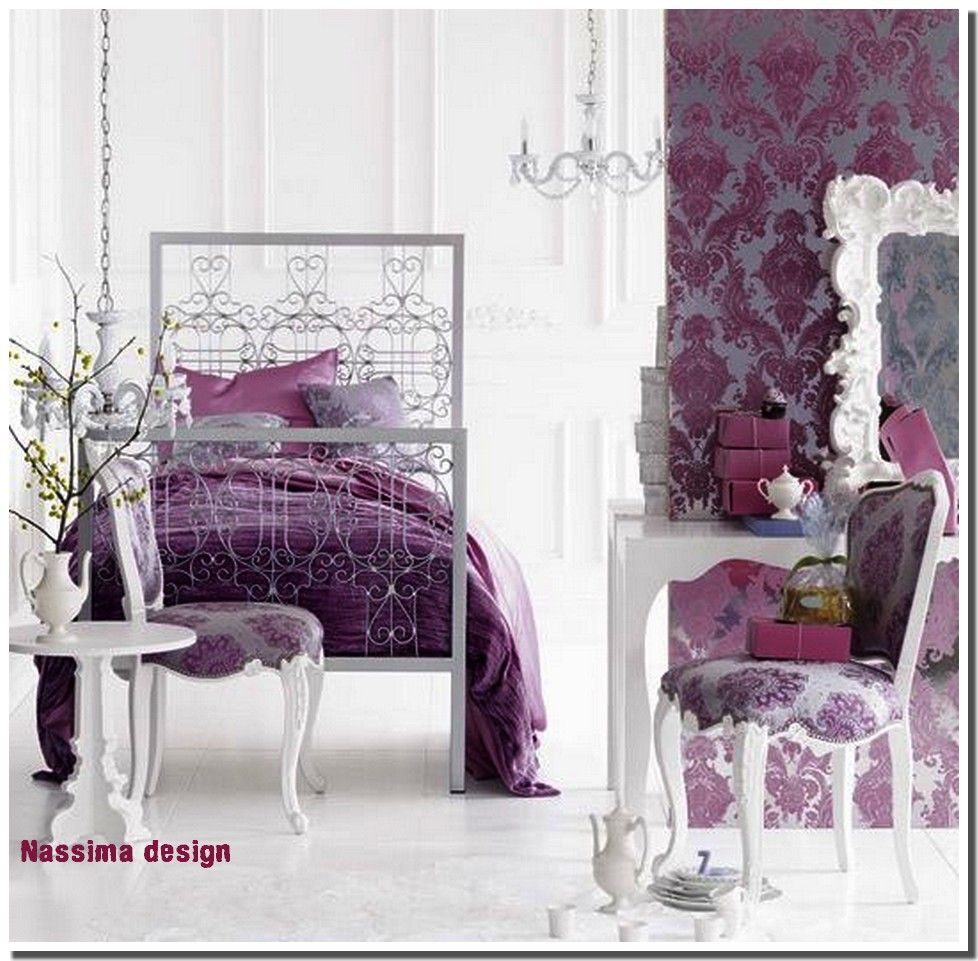nassima home chambre baroque couleur prune pour jeunes femmes. Black Bedroom Furniture Sets. Home Design Ideas