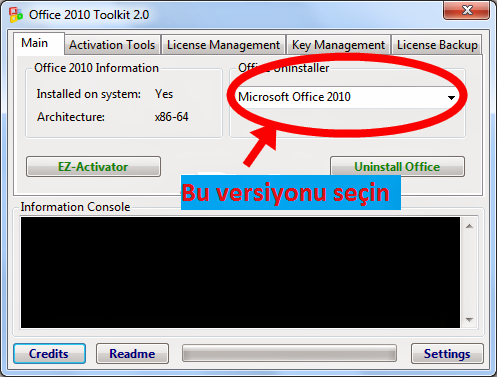 Yukarıdaki resimde görüldüğü gibi kırmızıyla seçili alanda Microsoft Office