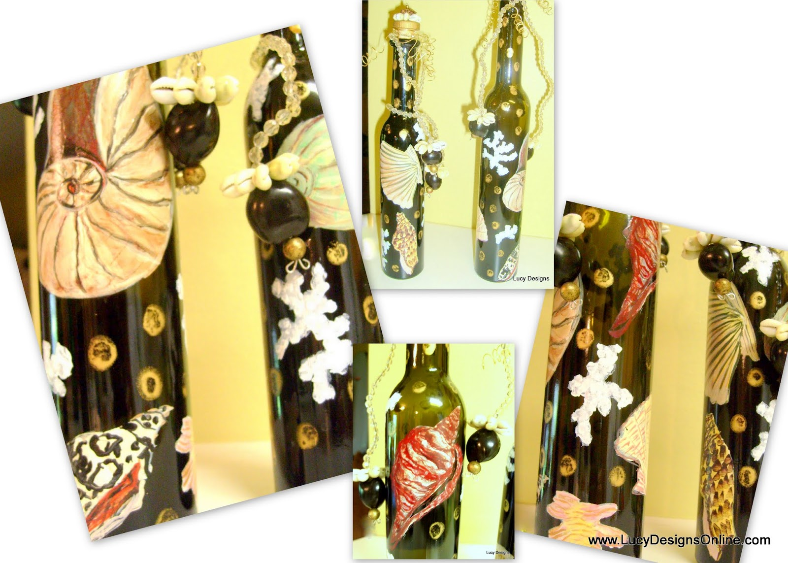 hand painted shell bottles with beaded shell stoppers