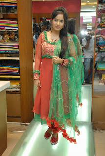 Actress Madhavi Latha Pictures in Salwar Kameez at Sreeja Fashions South Silk Festival 2013 Launch 0004.jpg