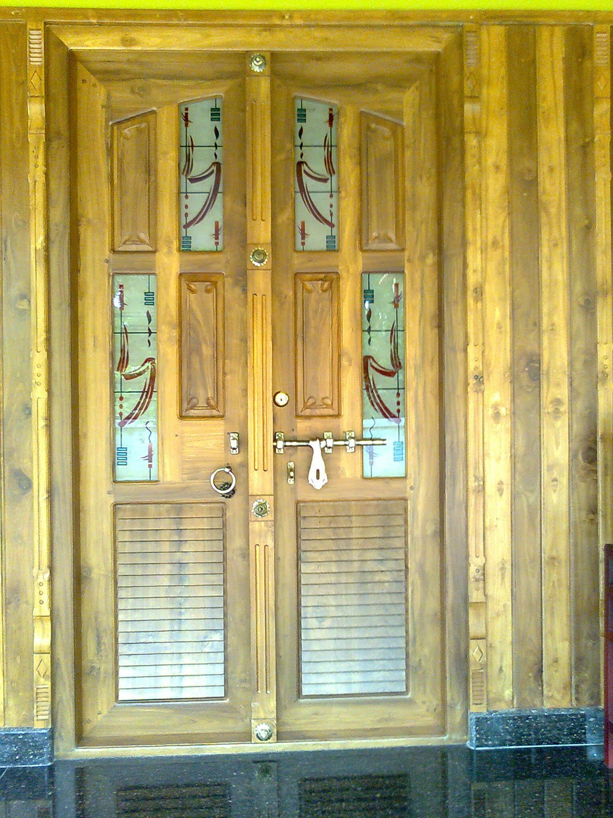 Main Entrence Front Door Double Door With Wooden Wall Panelling
