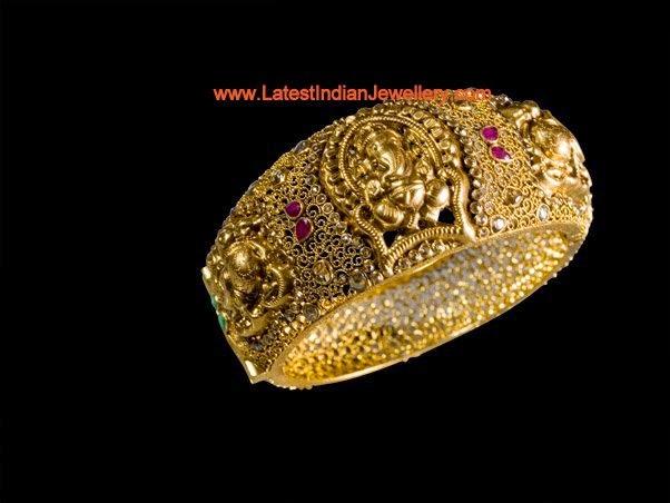 Ganesh Design Gold Kada Bangle